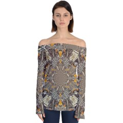Abstract Digital Geometric Pattern Off Shoulder Long Sleeve Top