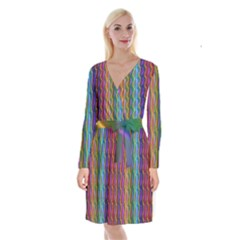 Background Wallpaper Psychedelic Long Sleeve Velvet Front Wrap Dress
