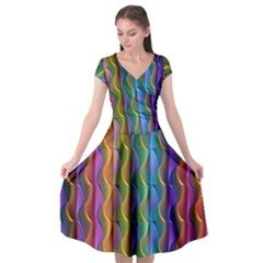 Background Wallpaper Psychedelic Cap Sleeve Wrap Front Dress
