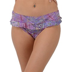 Purple Background Abstract Pattern Frill Bikini Bottom