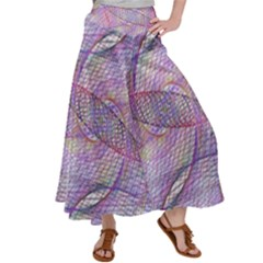 Purple Background Abstract Pattern Satin Palazzo Pants by Sudhe