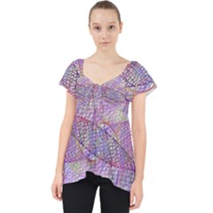 Purple Background Abstract Pattern Lace Front Dolly Top