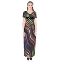 Psychedelic Background Wallpaper Short Sleeve Maxi Dress