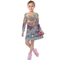 Fractal Artwork Design Pattern Kids  Long Sleeve Velvet Dress