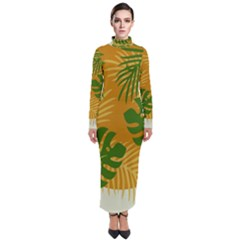 Leaf Leaves Nature Green Autumn Turtleneck Maxi Dress by Sudhe