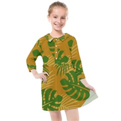 Leaf Leaves Nature Green Autumn Kids  Quarter Sleeve Shirt Dress by Sudhe