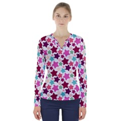 Stars Pattern V Neck Long Sleeve Top by Sudhe