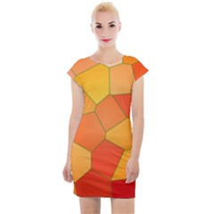 Background Pattern Of Orange Mosaic Cap Sleeve Bodycon Dress by Sudhe