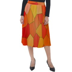 Background Pattern Of Orange Mosaic Classic Velour Midi Skirt  by Sudhe