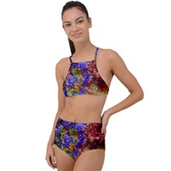 Splashes Of Color Background High Waist Tankini Set by Sudhe