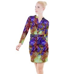 Splashes Of Color Background Button Long Sleeve Dress