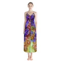 Splashes Of Color Background Button Up Chiffon Maxi Dress