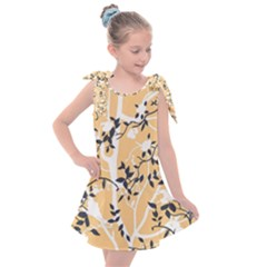 Floral Pattern Background Kids  Tie Up Tunic Dress