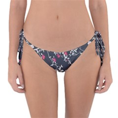 Black And White Floral Pattern Background Reversible Bikini Bottom