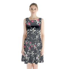 Black And White Floral Pattern Background Sleeveless Waist Tie Chiffon Dress