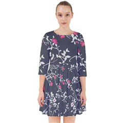Black And White Floral Pattern Background Smock Dress