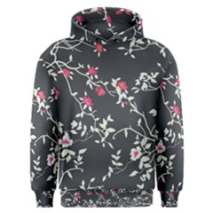 Black And White Floral Pattern Background Men s Overhead Hoodie