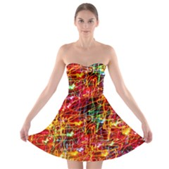 Random Colored Light Swirls Strapless Bra Top Dress