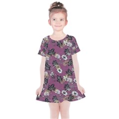 Beautiful Floral Pattern Background Kids  Simple Cotton Dress