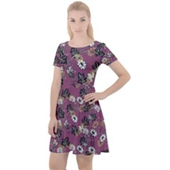 Beautiful Floral Pattern Background Cap Sleeve Velour Dress