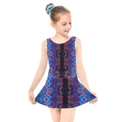 Kaleidoscope Art Pattern Ornament Kids  Skater Dress Swimsuit by Sudhe