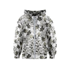 Black And White Floral Pattern Background Kids  Zipper Hoodie