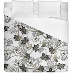 Black And White Floral Pattern Background Duvet Cover (king Size)