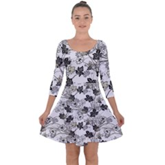 Black And White Floral Pattern Background Quarter Sleeve Skater Dress by Sudhe