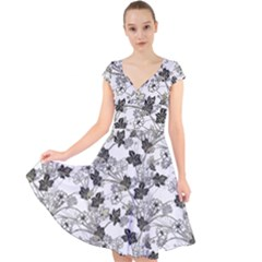 Black And White Floral Pattern Background Cap Sleeve Front Wrap Midi Dress
