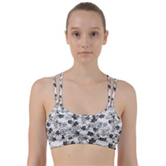 Black And White Floral Pattern Background Line Them Up Sports Bra