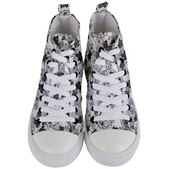 Black And White Floral Pattern Background Women s Mid Top Canvas Sneakers