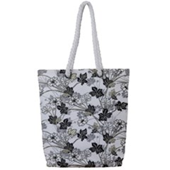 Black And White Floral Pattern Background Full Print Rope Handle Tote (small)