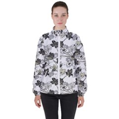 Black And White Floral Pattern Background High Neck Windbreaker (women)