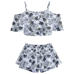 Black And White Floral Pattern Background Kids  Off Shoulder Skirt Bikini
