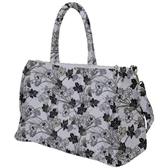 Black And White Floral Pattern Background Duffel Travel Bag