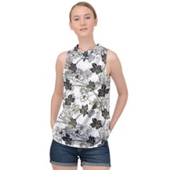 Black And White Floral Pattern Background High Neck Satin Top