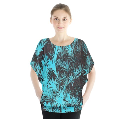 Blue Etched Background Batwing Chiffon Blouse by Sudhe