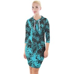 Blue Etched Background Quarter Sleeve Hood Bodycon Dress by Sudhe