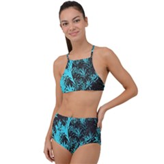 Blue Etched Background High Waist Tankini Set by Sudhe