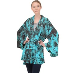 Blue Etched Background Velvet Kimono Robe
