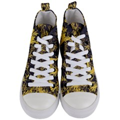 Artistic Yellow Background Women s Mid Top Canvas Sneakers
