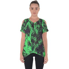 Green Etched Background Cut Out Side Drop Tee