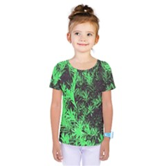 Green Etched Background Kids  One Piece Tee