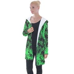 Green Etched Background Longline Hooded Cardigan