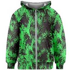 Green Etched Background Kids  Zipper Hoodie Without Drawstring