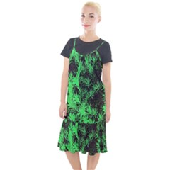 Green Etched Background Camis Fishtail Dress