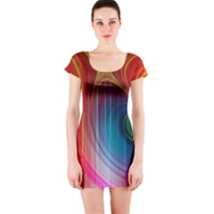Background Color Colorful Rings Short Sleeve Bodycon Dress