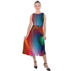 Background Color Colorful Rings Midi Tie Back Chiffon Dress