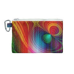 Background Color Colorful Rings Canvas Cosmetic Bag (medium)
