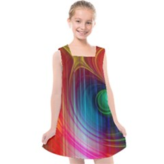 Background Color Colorful Rings Kids  Cross Back Dress by Sudhe